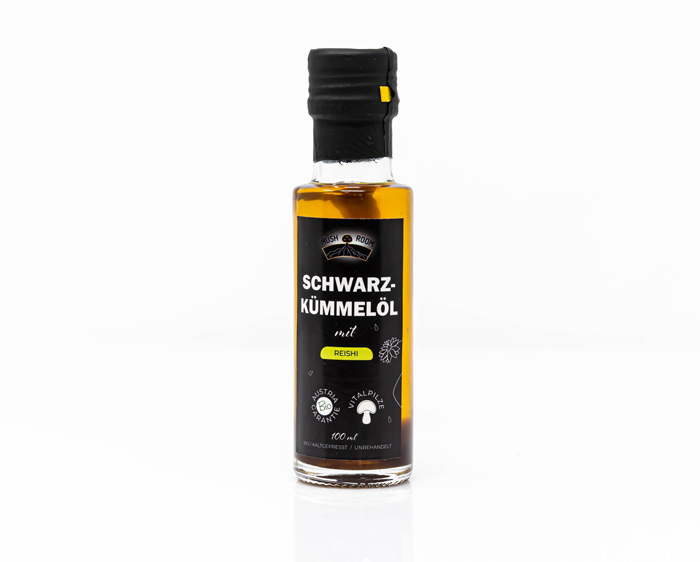 Reishi im Schwarzkümmelöl - Mush-Room Wien Produkt